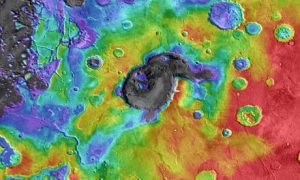 Colour-coded elevation image of Eden Patera, one of several sites on Mars that may be the footprints of ancient supervolcanoes. Photograph: Nasa/JPL/GSFC/Arizona State University/PA