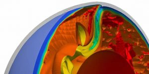 A numerical simulation shows how Earth's crust (blue) is subducted and transported into the mantle (orange). Credit: Graphics: ETH Zurich/ Geophysical Fluid Dynamics