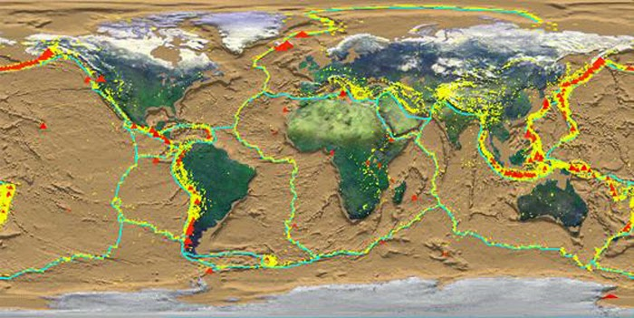 Getting to the bottom of tectonic plates geology page recent earthquakes yellow and volcanoes red of the world plotted against tectonic plate boundaries gumiabroncs Choice Image