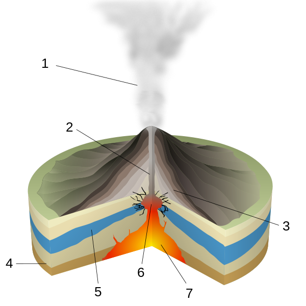 Types Of Volcanic Eruptions Geology Page. Diagram Of A Phreatic Eruption Key 1 Water Vapor Cloud 2 Magma Conduit 3 Layers Lava And Ash 4 Stratum 5 Table 6 Explosion 7. GM. Magmatic Eruption Diagram At Scoala.co