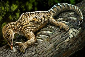 In this illustration set 212 million years ago in what is today New Mexico, a Drepanosaurus rips away tree bark with its massive claw and powerful arm. Credit: Painting by Victor Leshyk