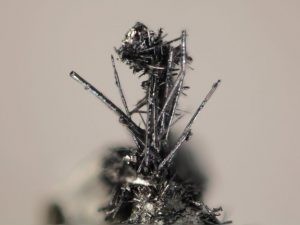 The tiny whiskers, which look to the naked eye like very fine hairs on other larger crystals, have probably been regularly cleaned off their host rocks. Credit: Michigan Tech, John Jaszczak