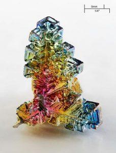 Artificially grown bismuth crystal. Credit: Alchemist-hp/Wikipedia