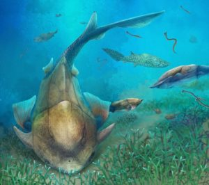 Life reconstruction of Qilinyu along with Guiyu and Entelognathus in Silurian waters. Credit: Dinghua Yang