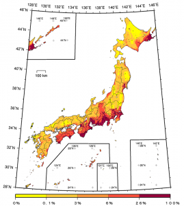 Representative Image: Exceedance probability within 30 years considering all earthquakes (JMA seismic intensity: 6 Lower or more; average case; period starting Jan. 2010)