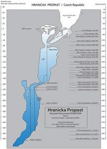 This map made available to The Associated Press by Polish explorer Krzysztof Starnawski on Friday, Sept. 30, 2016, shows a cross-section of the flooded Hranicka Propast, or Hranice Abyss, in the Czech Republic that Starnawski's Czech and Polish team recently revealed to be the world's deepest known flooded cave. On Sept. 27, 2016, the team used a remotely-operated underwater robot, or ROV, to search for the cave's bottom. It went to the record depth of 404 meters (1,325 feet) but still has not found the bottom, during the 'Hranicka Propast - step beyond 400m' expedition led by Starnawski and partly funded by the National Geographic.  Credit: Krzysztof Starnawski Expedition via AP