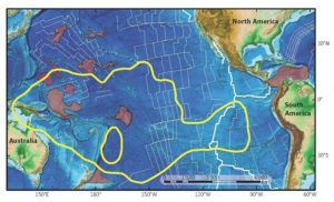 This diagram shows the Pacific large igneous provinces included in a study by Virginia Tech Department of Geosciences researchers. Sections colored in red were visited by Esteban Gazel and his team, while the entire Pacific Large Low Shear Velocity Province is shown in yellow. The Pacific Large Low Shear Velocity Province is nearly 2,000 miles wide. Credit: Virginia Tech