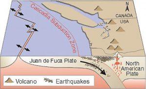 The Cascadia fault, which last experienced a mega-quake in 1700, lies along a flat region where mega-quakes can occur. Credit: USGS