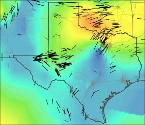 New stress maps of Texas and Oklahoma, with black lines indicating stress orientation. Blue-green colors indicate regions of extension in the crust, while yellow-orange areas are indicative of crustal compression. Credit: Jens-Erik Lund Snee