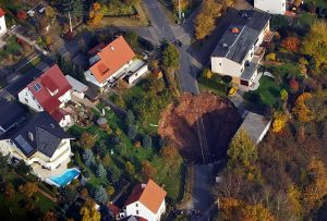 An aerial view of the sinkhole in Schmalkalden Photograph: Stefan Thomas/AFP/Getty Images