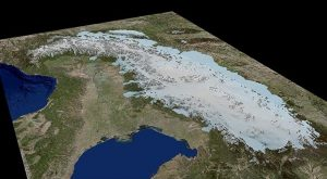 This is a 3-D ice-model of the Alps during Last Glacial Maximum. Credit: University of Potsdam, background model based on ESRI Germany data