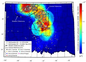 Saltwater disposal and earthquakes in Oklahoma are shown. Credit: Cornelius Langenbruch.