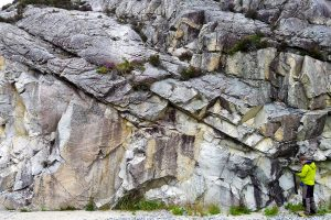 Fault zone in Southern Norway shows 200 million years of reactivation history. Credit: Giulio Viola
