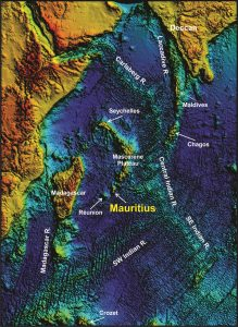 Lost continent found under mauritius geology page indian ocean topography showing the location of mauritius as part of a chain of progressively older volcanoes extending from the presently active hot spot gumiabroncs Choice Image