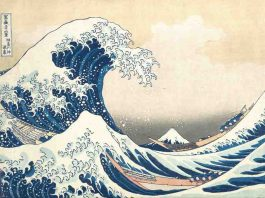 Researchers also want to encourage the locals to develop practical evacuation plans to help them feel less pessimistic about their survival odds. Credit: Katsushika Hokusai
