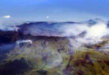 An aerial view of Mount Tambora's caldera