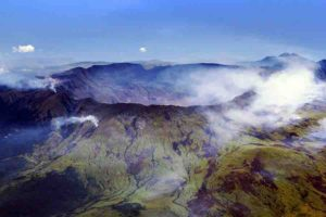 An aerial view of Mount Tambora's caldera