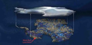 Illustration of flowing water under the Antarctic ice sheet