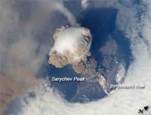 Photo of early stages of the eruption of the Sarychev on June 12, 2009