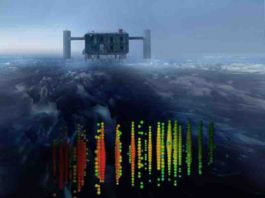 This image shows a visual representation of one of the highest-energy neutrino detections superimposed on a view of the IceCube Lab at the South Pole