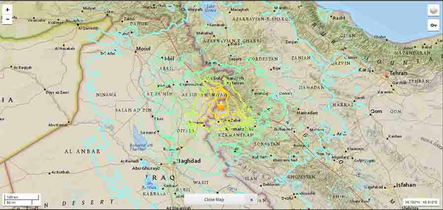 m 73 earthquake hits iran iraq 2017 geology page