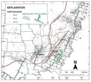 Distribution of intraplate earthquakes in central and eastern North America