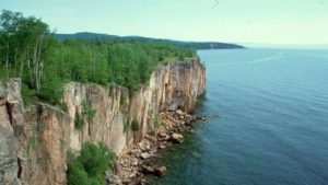 Dramatic cliffs on the shores of Lake Superior.