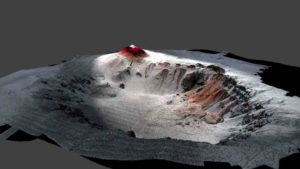 High-resolution seafloor topography of the Havre caldera mapped by the autonomous underwater vehicle (AUV) Sentry shows the new 2012 erupted lavas in red.