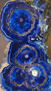 Azurite, columnar aggregate of stalactites, Bisbee Arizona. Detail, size 13 x 75 x 15 cm. Part of the Rocks and Minerals display in the Royal Ontario Museum Toronto