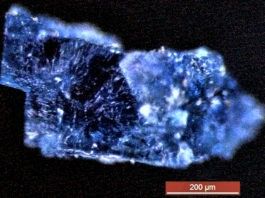 A blue crystal recovered from a meteorite that fell near Morocco in 1998.