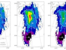 These are geothermal heat flux predictions for Greenland. Direct GHF measurements from the coastal rock cores, inferences from ice cores, and additional Gaussian-fit GHF data around ice core sites are used as training samples.