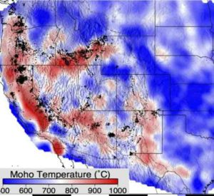 This is Moho temperature at depths varying from 20 to 50 km.