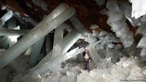 Giant selenite crystals in the Cueva de los Cristales