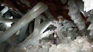 Giant selenite crystals in the Cueva de los Cristales