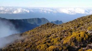 A fieldwork photo from Réunion Island shows the flank of the Cirque de Cilaos, looking out towards the Indian Ocean.