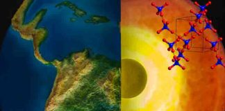 The molecular structure of ice-VII (upper right) is shown with an artistic rendering of the Earth and a cutaway view of the inner Earth (right). Crystallized water, in the form of ice-VII, was found in diamond samples studied at Berkeley Lab.