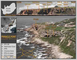 The team has been excavating caves at Pinnacle Point, South Africa, for nearly 20 years. Glass shards were discovered at the PP5-6 location.