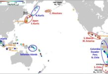 A map summarizing the new REEF measure of seismic energy for events around the Pacific Ring of Fire shows the regional patterns indicating earthquake rupture character is affected by persistent features that differ from region to region.