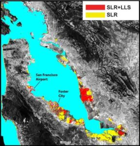 The San Francisco Bay shoreline, where yellow indicates areas where a projected rise in sea level (SLR) will result in flooding by 2100. Red shows where local land subsidence (LLS) will combine with SLR to increase the flood-prone areas.
