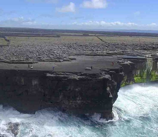 An example of coastal boulder deposits on Inishmaan, Aran Islands. The cliffs are about 20 m high, and the boulders are piled 32-42 m inland from the cliff edge.