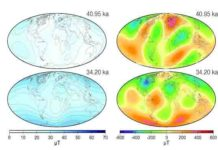 Intensity at Earth's surface (left) and radial field (Br) at the CMB (right).