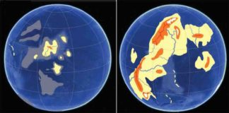 A conceptual rendering suggests how Earth's land elevations and oceans may have appeared during the assembly of Kenorland, left, and later, right, after the Great Oxygenation Event. A University of Oregon-led study has potentially narrowed the window on when significant amounts of land emerged from under the ocean's surface.