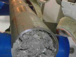 Sediment core with gas hydrate