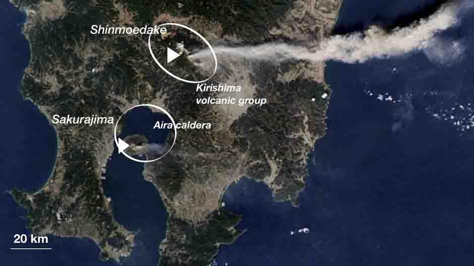 Southern Japan on Feb. 3rd, 2011, showing the active cones of Kirishima (Shinmoedake) and Aira caldera (Sakurajima) volcanoes.