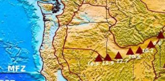 This is the location of the Yellowstone's hotspot track. The triangles indicate general locations of the Yellowstone and Snake River Plain age-progressive volcanoes with ages shown in millions of years, plotted on a topography map of the Western United States.
