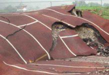 Earthquake mangled track