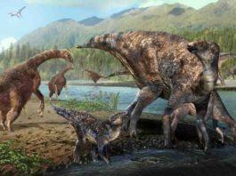 therizinosaurs and hadrosaurs at Alaska's Denali National Park during the Cretaceous Period.