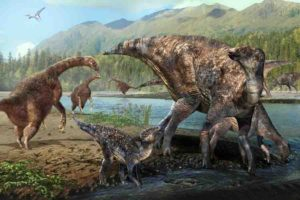 therizinosaurs and hadrosaurs at Alaska's Denali National Park during the Cretaceous Period.