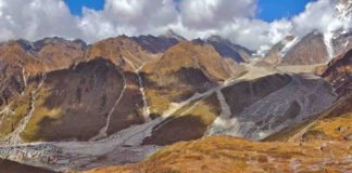 Photograph panorama looking over the devastation of the Kedarnath landslide, June 2013, Uttarakhand state, India.