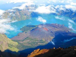 The Mount Rinjani crater in Lombok, Indonesia.
